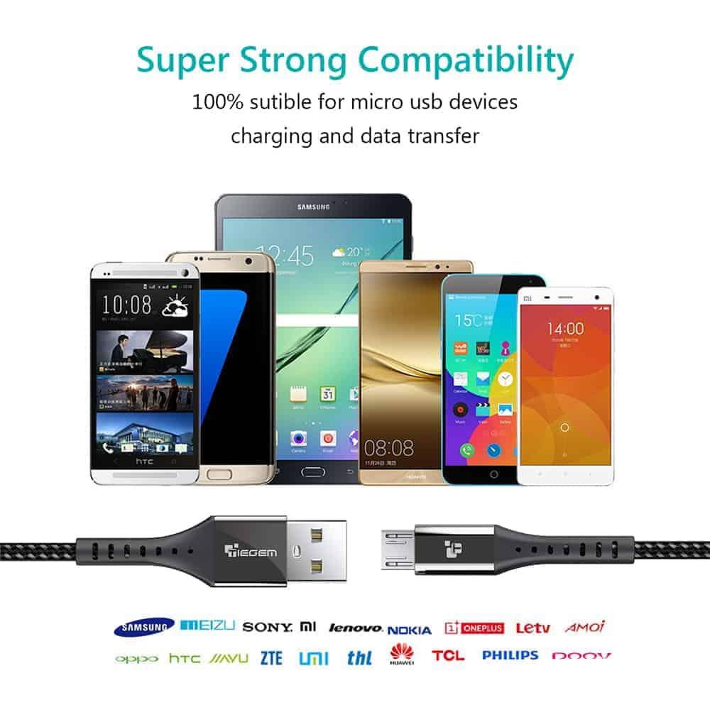 สายชาร์จ Micro USB TIEGEM Nylon Fast Charging Cable For Samsung android-10