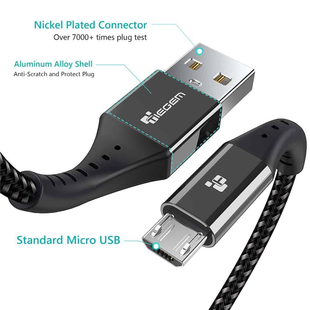 สายชาร์จ Micro USB TIEGEM Nylon Fast Charging Cable For Samsung android-4