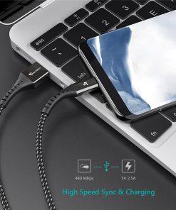 สายชาร์จ Micro USB TIEGEM Nylon Fast Charging Cable For Samsung android-5