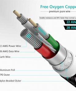 สายชาร์จ Micro USB TIEGEM Nylon Fast Charging Cable For Samsung android-6