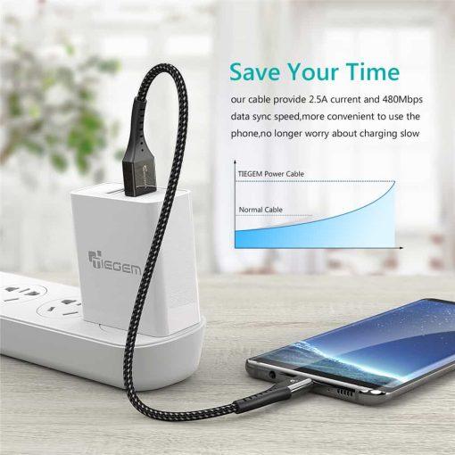 สายชาร์จ Micro USB TIEGEM Nylon Fast Charging Cable For Samsung android-7