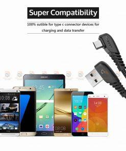 สายชาร์จ Samsung-android TIEGEM 90 Degree Micro USB Cable 2.5A Fast Charger Data Cable-11