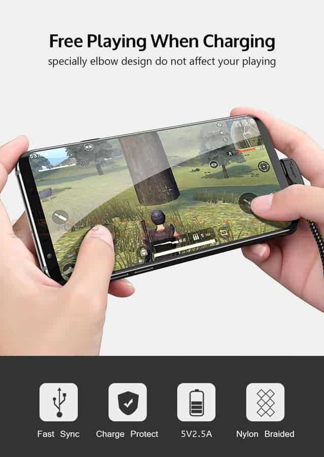 สายชาร์จ Samsung-android TIEGEM 90 Degree Micro USB Cable 2.5A Fast Charger Data Cable-2