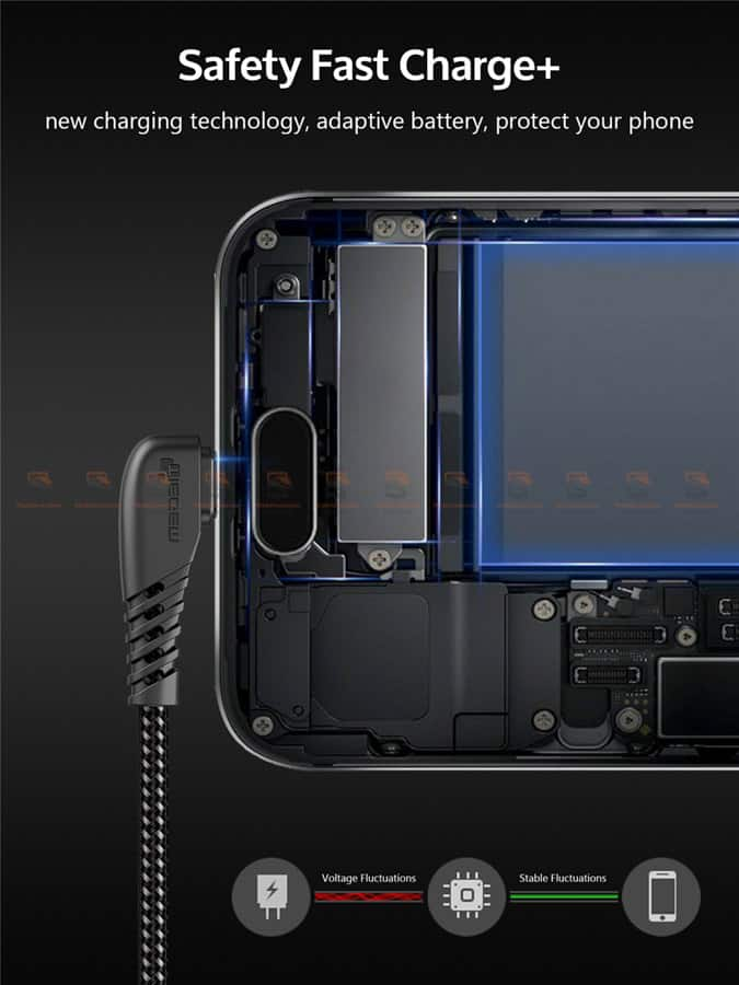 สายชาร์จ Samsung-android TIEGEM 90 Degree Micro USB Cable 2.5A Fast Charger Data Cable-3
