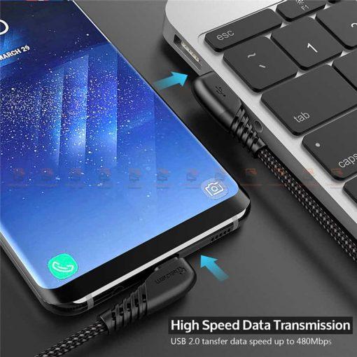 สายชาร์จ Samsung-android TIEGEM 90 Degree Micro USB Cable 2.5A Fast Charger Data Cable-5