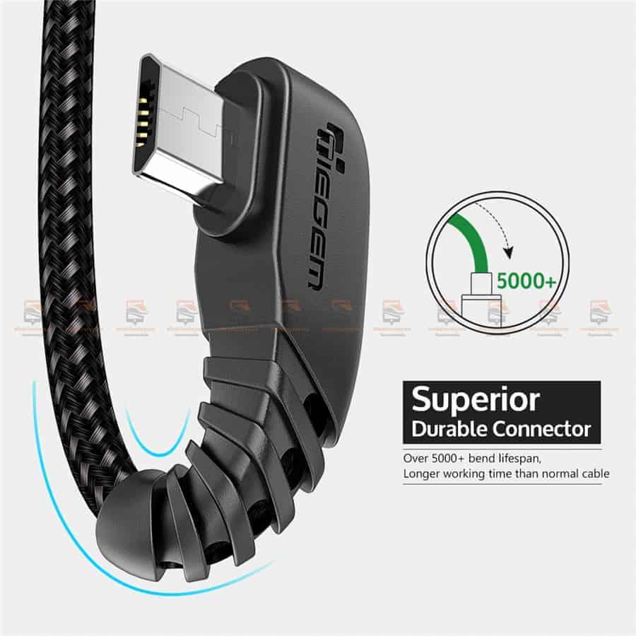 สายชาร์จ Samsung-android TIEGEM 90 Degree Micro USB Cable 2.5A Fast Charger Data Cable-8