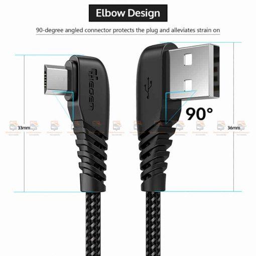 สายชาร์จ Samsung-android TIEGEM 90 Degree Micro USB Cable 2.5A Fast Charger Data Cable-9