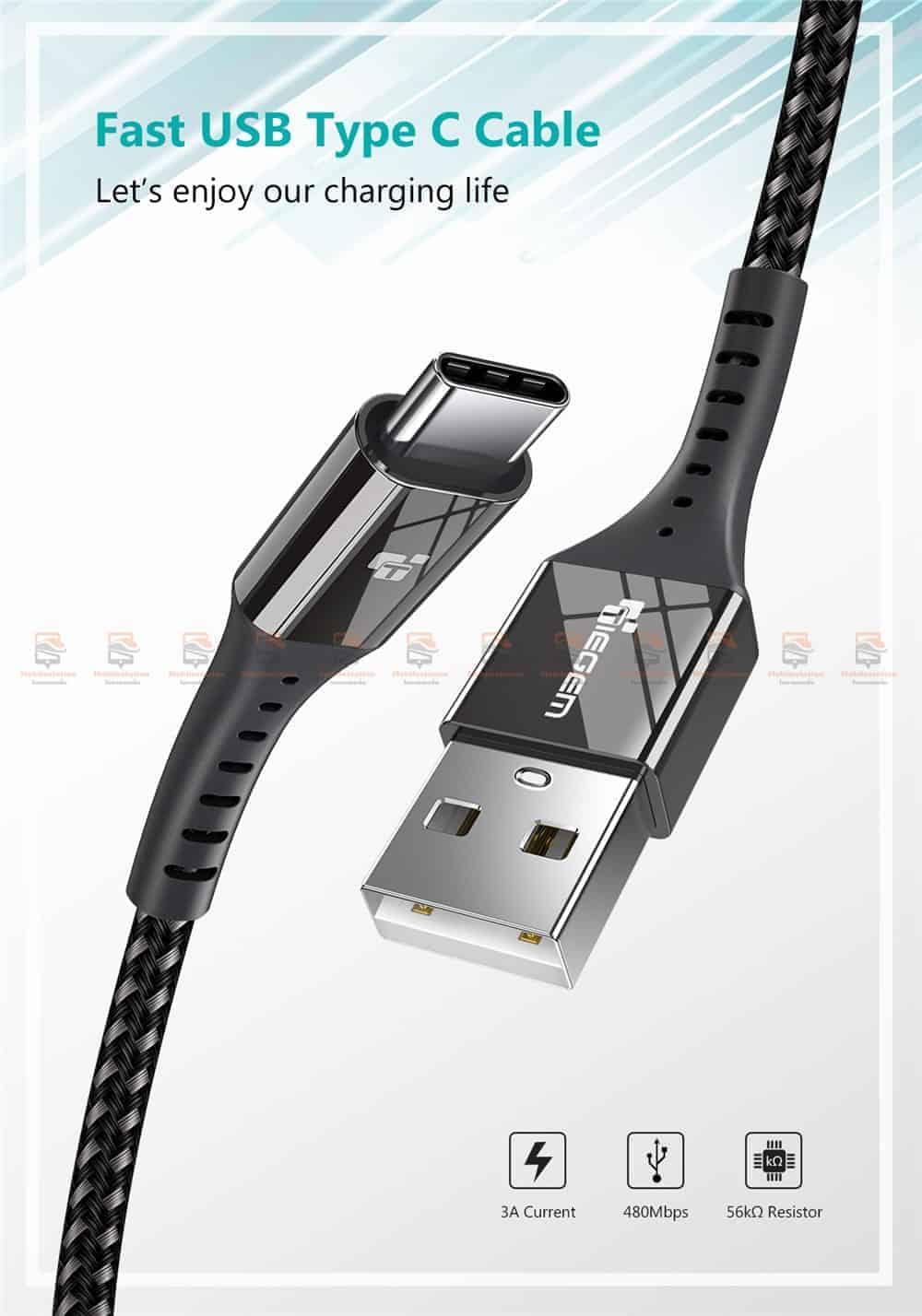 สายชาร์จ Type C TIEGEM Nylon Fast Charging Cable For Samsung android-1