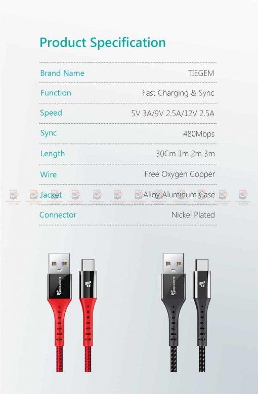 สายชาร์จ Type C TIEGEM Nylon Fast Charging Cable For Samsung android-12