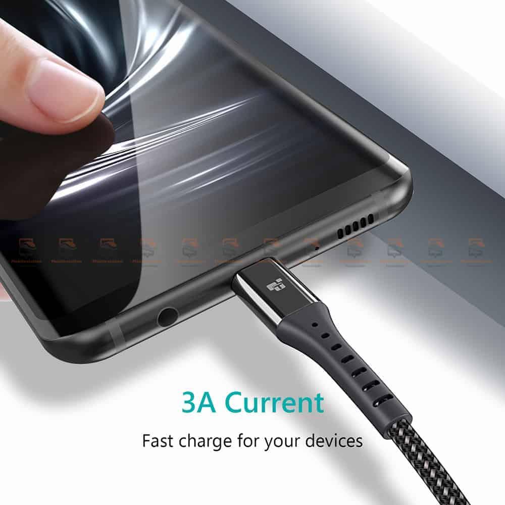 สายชาร์จ Type C TIEGEM Nylon Fast Charging Cable For Samsung android-2
