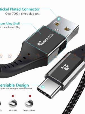 สายชาร์จ Type C TIEGEM Nylon Fast Charging Cable For Samsung android-5