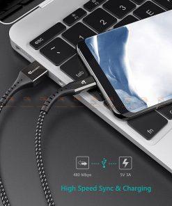 สายชาร์จ Type C TIEGEM Nylon Fast Charging Cable For Samsung android-6