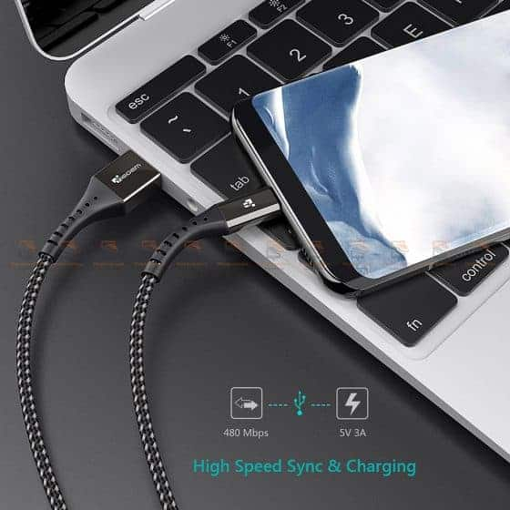 สายชาร์จ Type C TIEGEM Nylon Fast Charging Cable For Samsung android-6