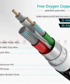 สายชาร์จ Type C TIEGEM Nylon Fast Charging Cable For Samsung android-7