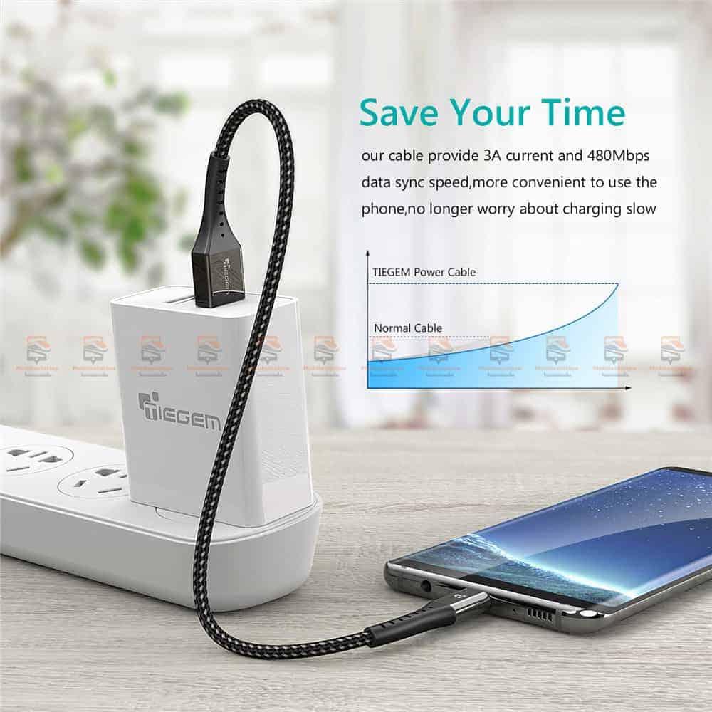 สายชาร์จ Type C TIEGEM Nylon Fast Charging Cable For Samsung android-8