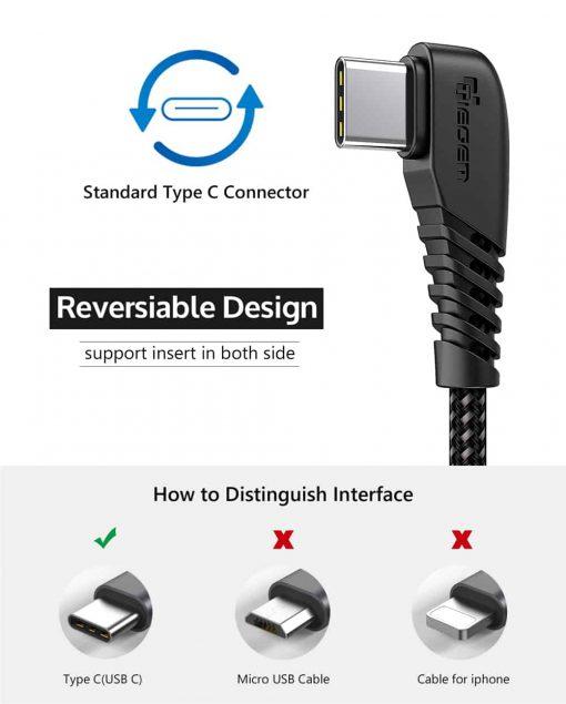 สายชาร์จ USB Type C TIEGEM 90 Degree For Samsung android 2.5A Fast Charger Data Cable-11