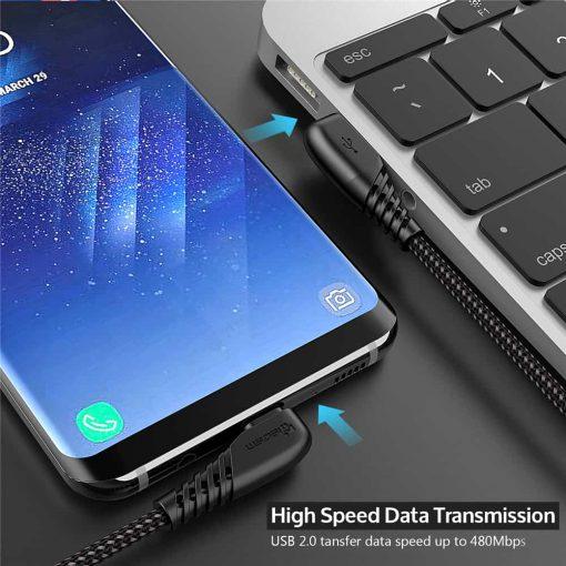 สายชาร์จ USB Type C TIEGEM 90 Degree For Samsung android 2.5A Fast Charger Data Cable-5