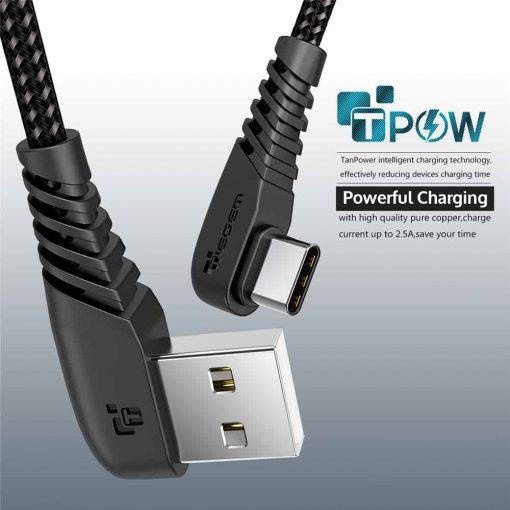 สายชาร์จ USB Type C TIEGEM 90 Degree For Samsung android 2.5A Fast Charger Data Cable-6