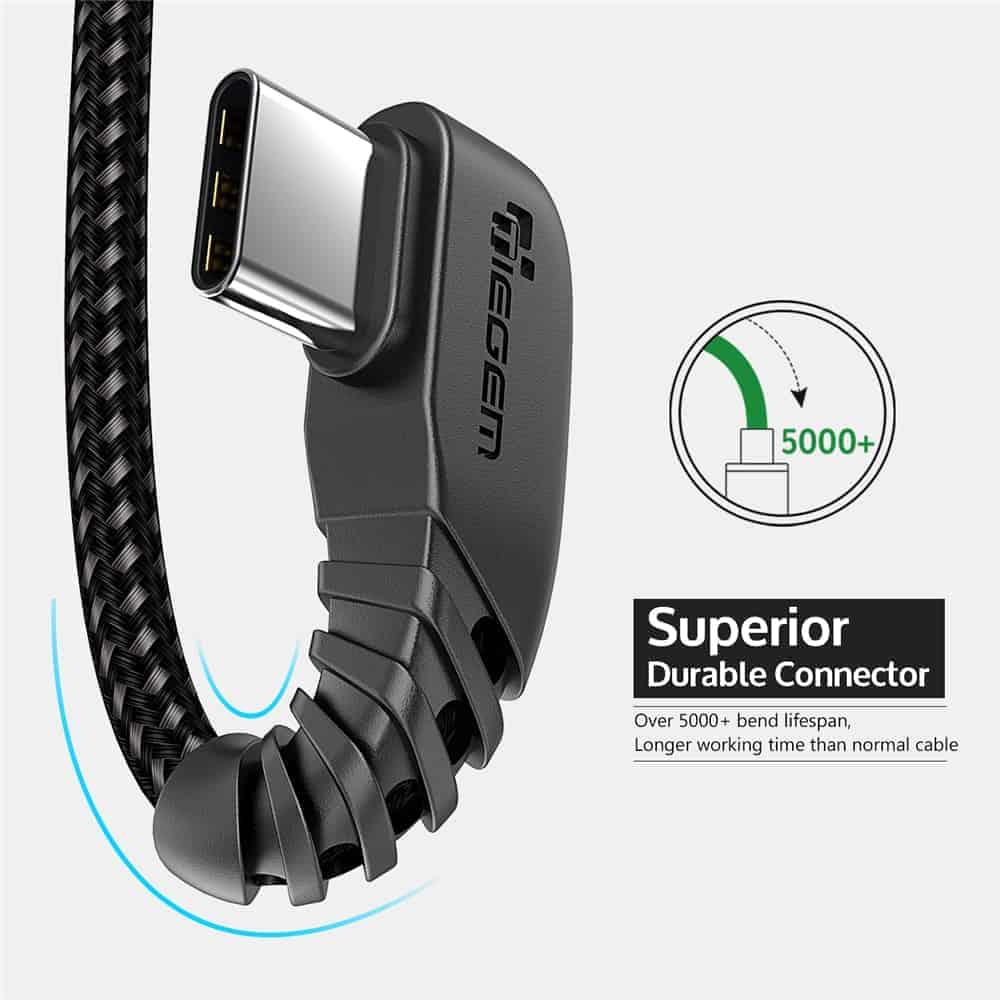 สายชาร์จ USB Type C TIEGEM 90 Degree For Samsung android 2.5A Fast Charger Data Cable-8