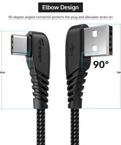 สายชาร์จ USB Type C TIEGEM 90 Degree For Samsung android 2.5A Fast Charger Data Cable-9