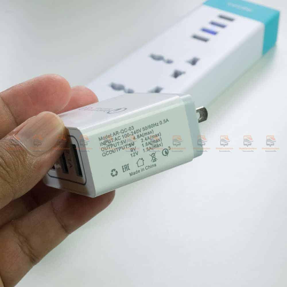 ที่ชาร์จแบต fast quick charge 3.0 Travel usb charger 3 ports for iPhone ipad Samsung Android รีวิว ตัวอย่างสินค้าจริง-3