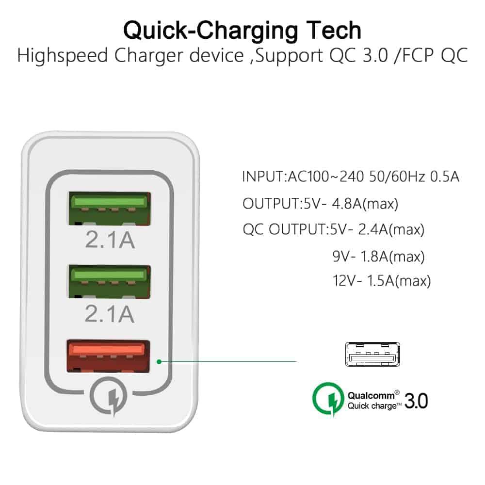 ที่ชาร์จแบต fast quick charge 3.0 Travel usb charger 3 ports for iPhone ipad Samsung Android-2