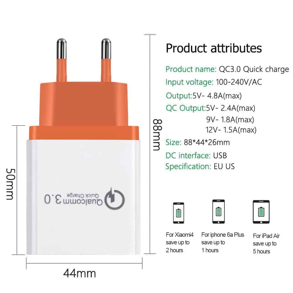 ที่ชาร์จแบต fast quick charge 3.0 Travel usb charger 3 ports for iPhone ipad Samsung Android-3