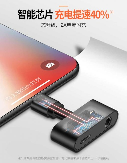 Lightning adapter + Audio 3.5mm for iPhone 7 8 X ฟังเพลง พร้อมชาร์จ ยี่ห้อ Torras-4