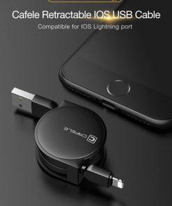สายชาร์จไอโฟน CAFELE Retractable USB Phone Cable for iphone X 8 7 6S Plus 5S_2
