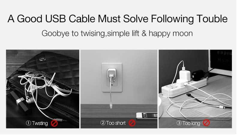 สายชาร์จไอโฟน CAFELE Retractable USB Phone Cable for iphone X 8 7 6S Plus 5S_4