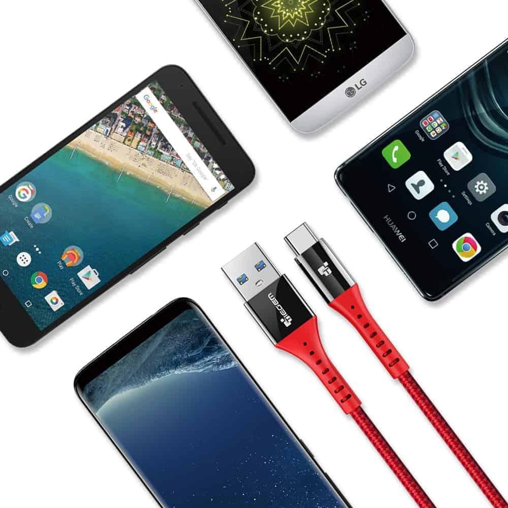 สายชาร์จ Type C USB 3.0 TIEGEM Nylon Fast Charging Cable For Samsung android_10