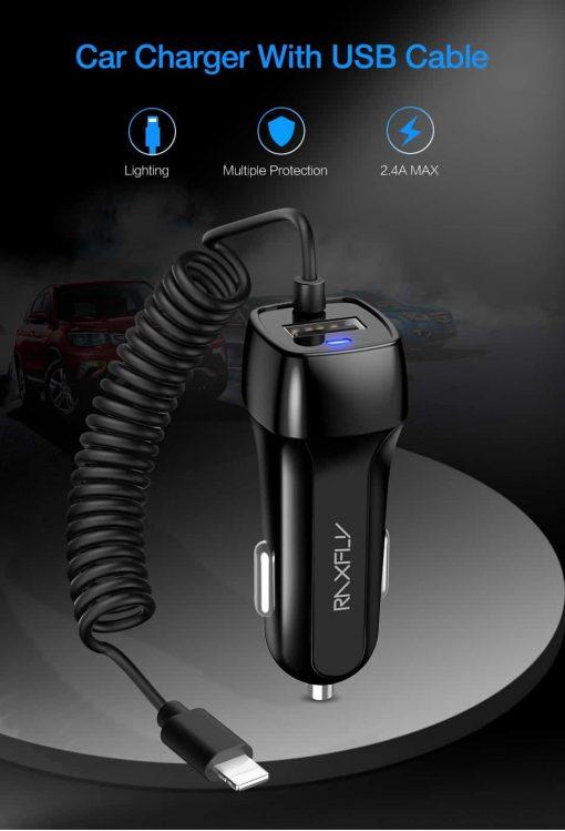 ที่ชาร์จในรถ ที่ชาร์จในรถ RAXFLY USB Quick Charge Micro USB Type c Lighting Cable For iPhone Samsung android_1