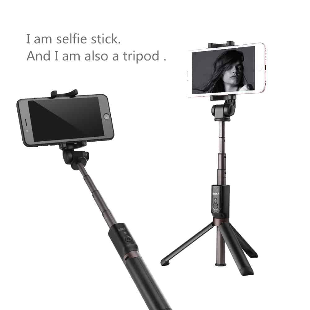 ไม้เซลฟี่ ขาตั้งมือถือ 3 in 1 Selfie Stick Phone Tripod Extendable 26 Inch Monopod-ตัวอย่างจริง