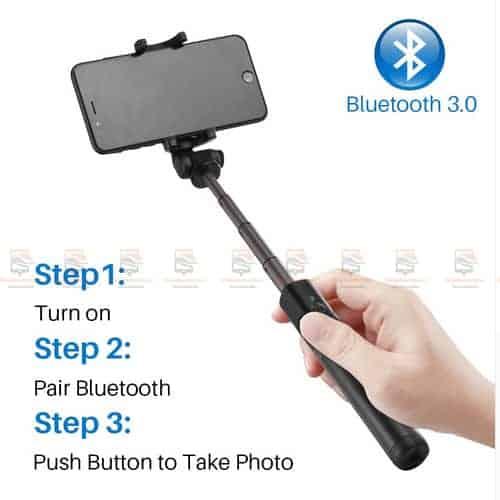 ไม้เซลฟี่ ขาตั้งมือถือ 3 in 1 Selfie Stick Phone Tripod Extendable 26 Inch Monopod-display2