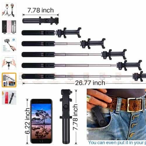 ไม้เซลฟี่ ขาตั้งมือถือ 3 in 1 Selfie Stick Phone Tripod Extendable 26 Inch Monopod-display4