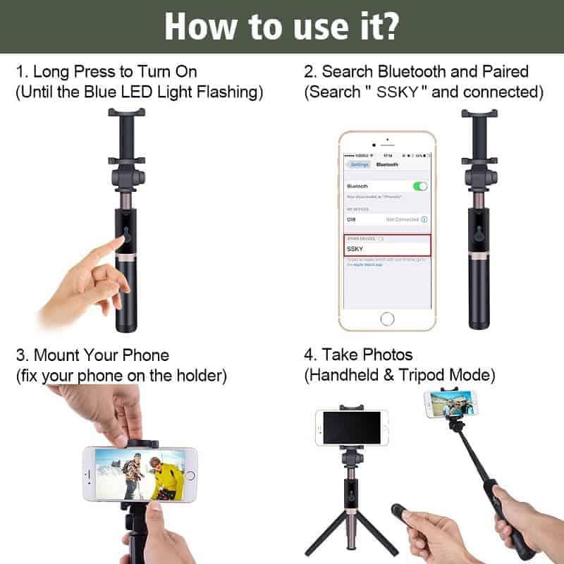 ไม้เซลฟี่ ขาตั้งมือถือ 3 in 1 Selfie Stick Phone Tripod Extendable 26 Inch Monopod-how to use