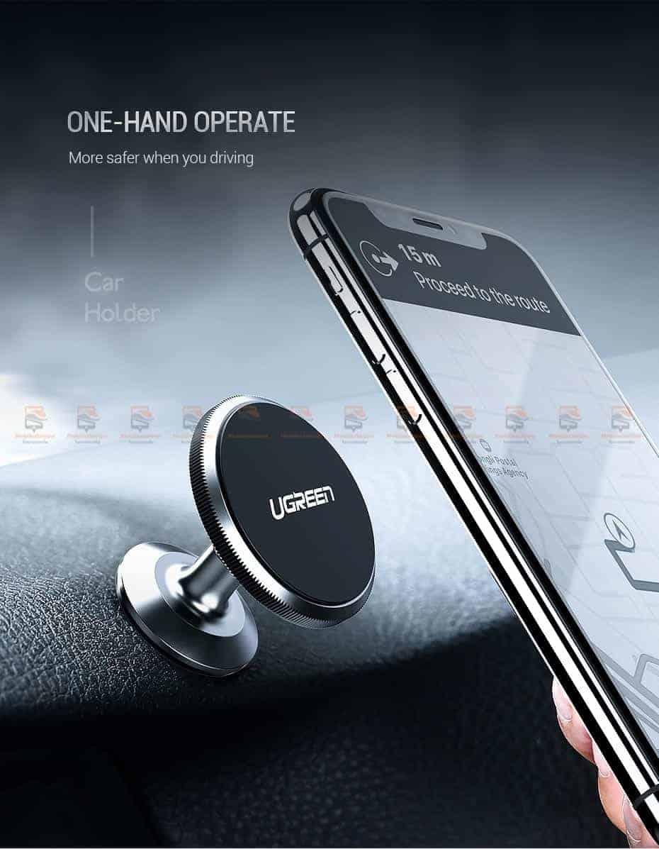 ที่ยึดโทรศัพท์ในรถ Ugreen Magnetic car Phone Holder-2-ติดตั้งมือถือได้ด้วยมือเดียว