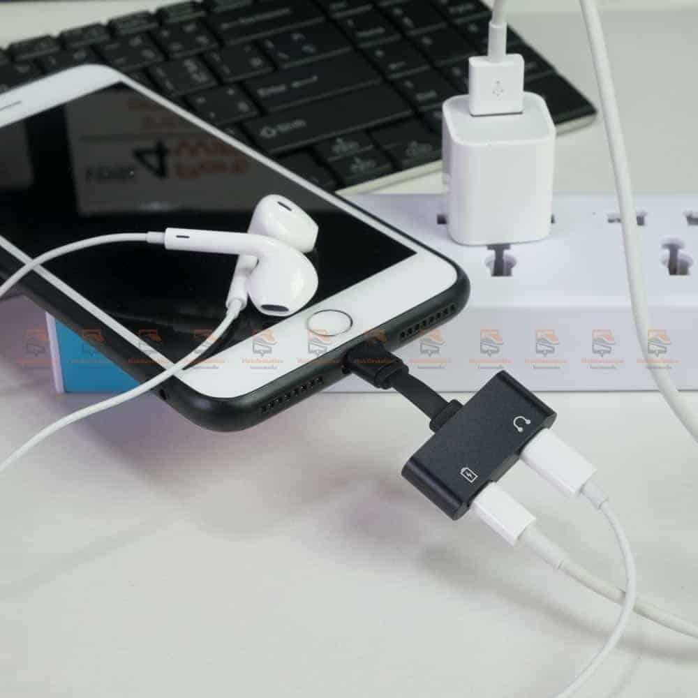 Lightning adapter for iPhone 7 8 X Xr ฟังเพลง ใช้ไมค์ได้ พร้อมชาร์จ ยี่ห้อ Suntaiho-ใช้งานเต็มรูปแบบ