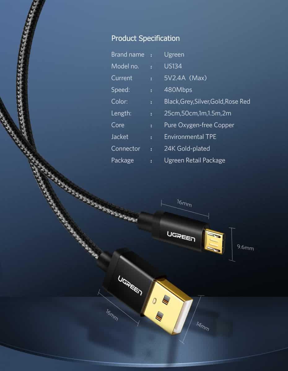 สายชาร์จ Micro USB 2.4A Ugreen Nylon Fast Charge for Samsung-android phone-13