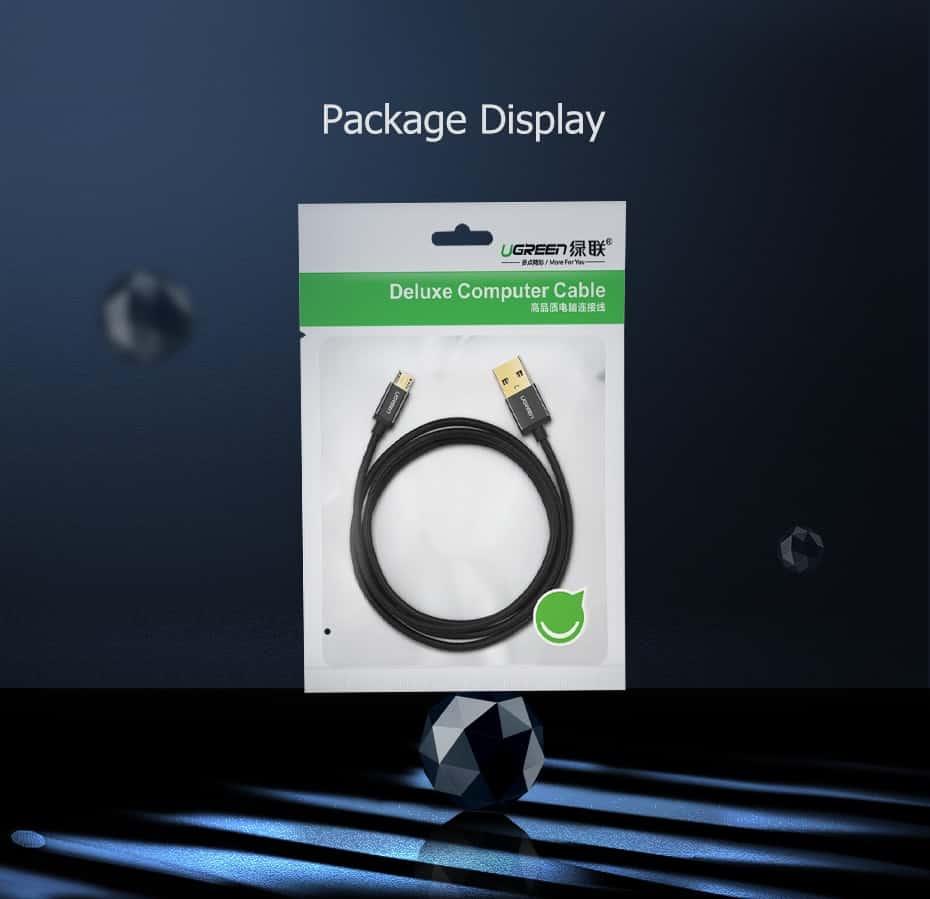 สายชาร์จ Micro USB 2.4A Ugreen Nylon Fast Charge for Samsung-android phone-14