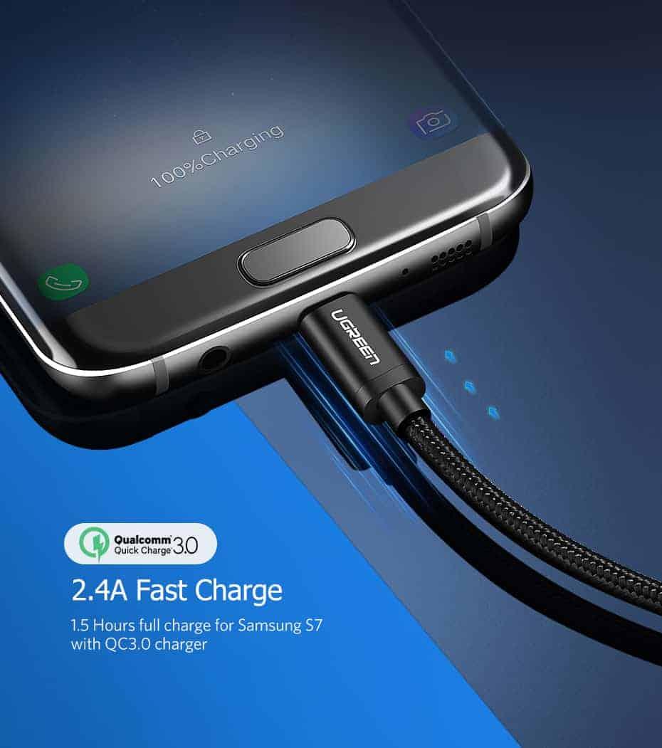 สายชาร์จ Micro USB 2.4A Ugreen Nylon Fast Charge for Samsung-android phone-2
