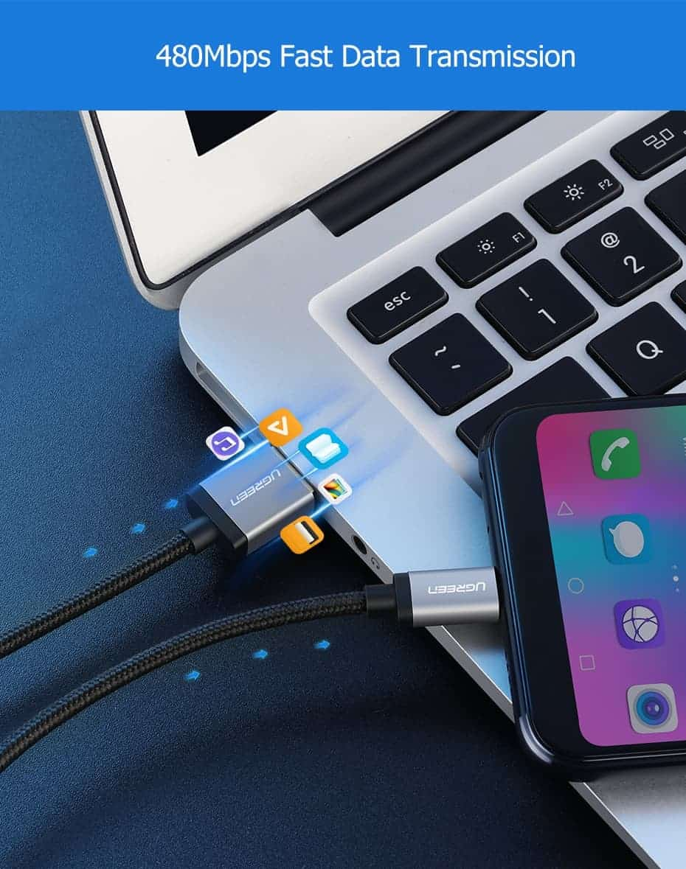 สายชาร์จ Micro USB 2.4A Ugreen Nylon Fast Charge for Samsung-android phone-5