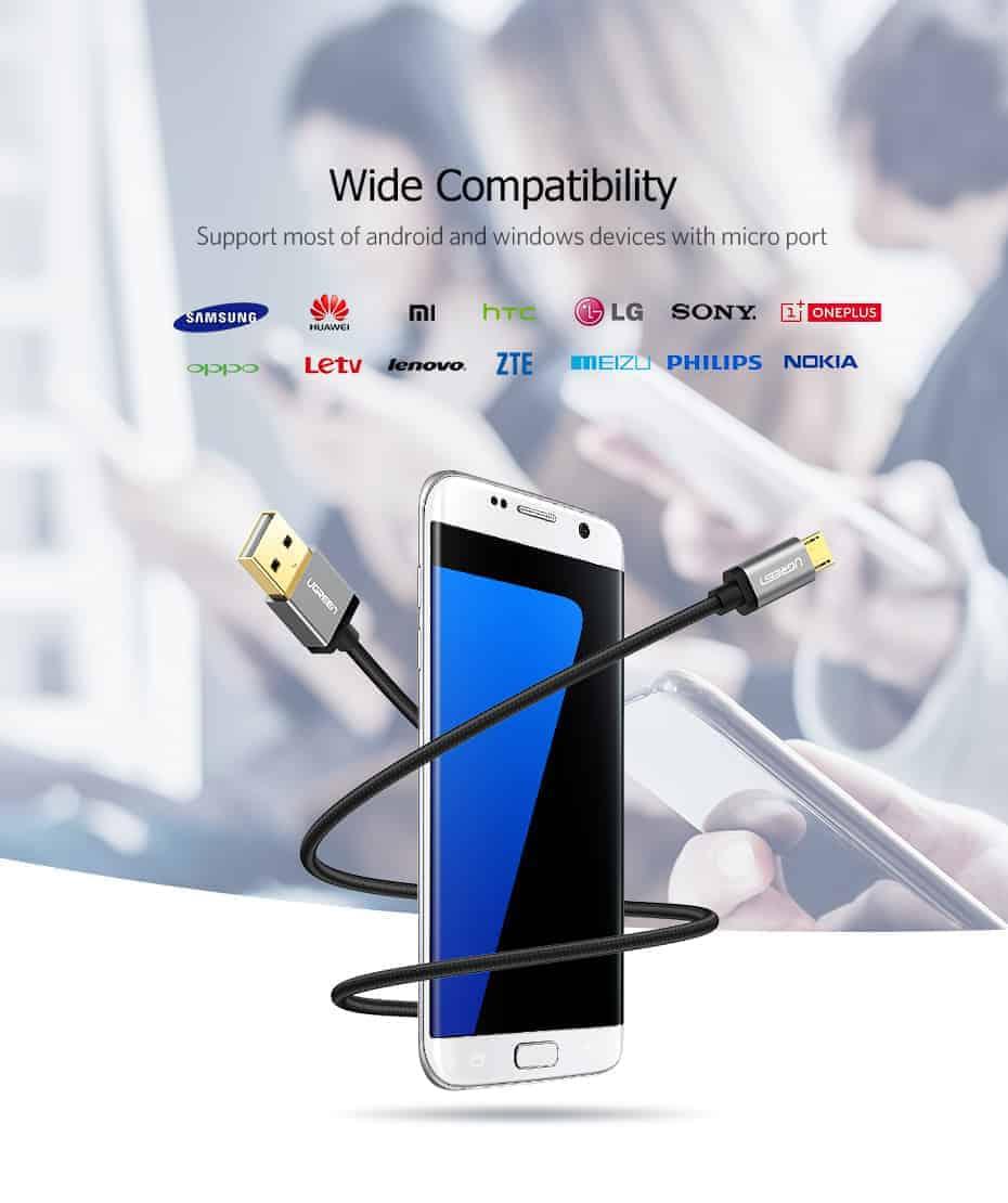 สายชาร์จ Micro USB 2.4A Ugreen Nylon Fast Charge for Samsung-android phone-6