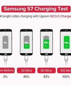 สายชาร์จ Micro USB 2.4A Ugreen Nylon Fast Charge for Samsung-android phone-Samsung S7 charging test