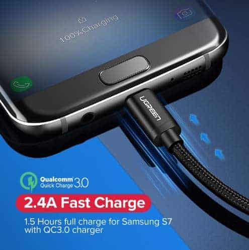สายชาร์จ Micro USB 2.4A Ugreen Nylon Fast Charge for Samsung-android phone-gallery-6