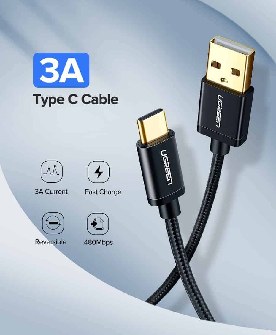 สายชาร์จ Type C Ugreen 3A Support Qualcomm Quick charger for android phone-1-type c cable