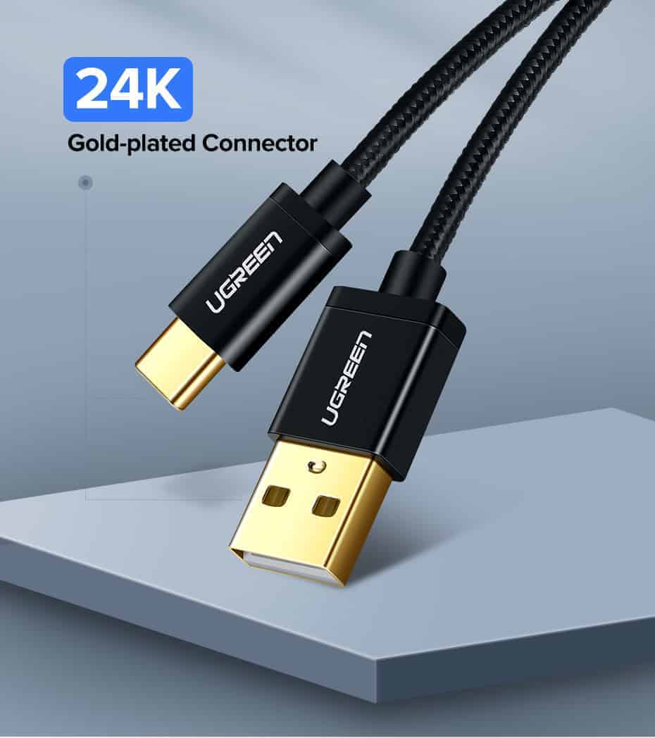 สายชาร์จ Type C Ugreen 3A Support Qualcomm Quick charger for android phone-11-24 k gold plated connector
