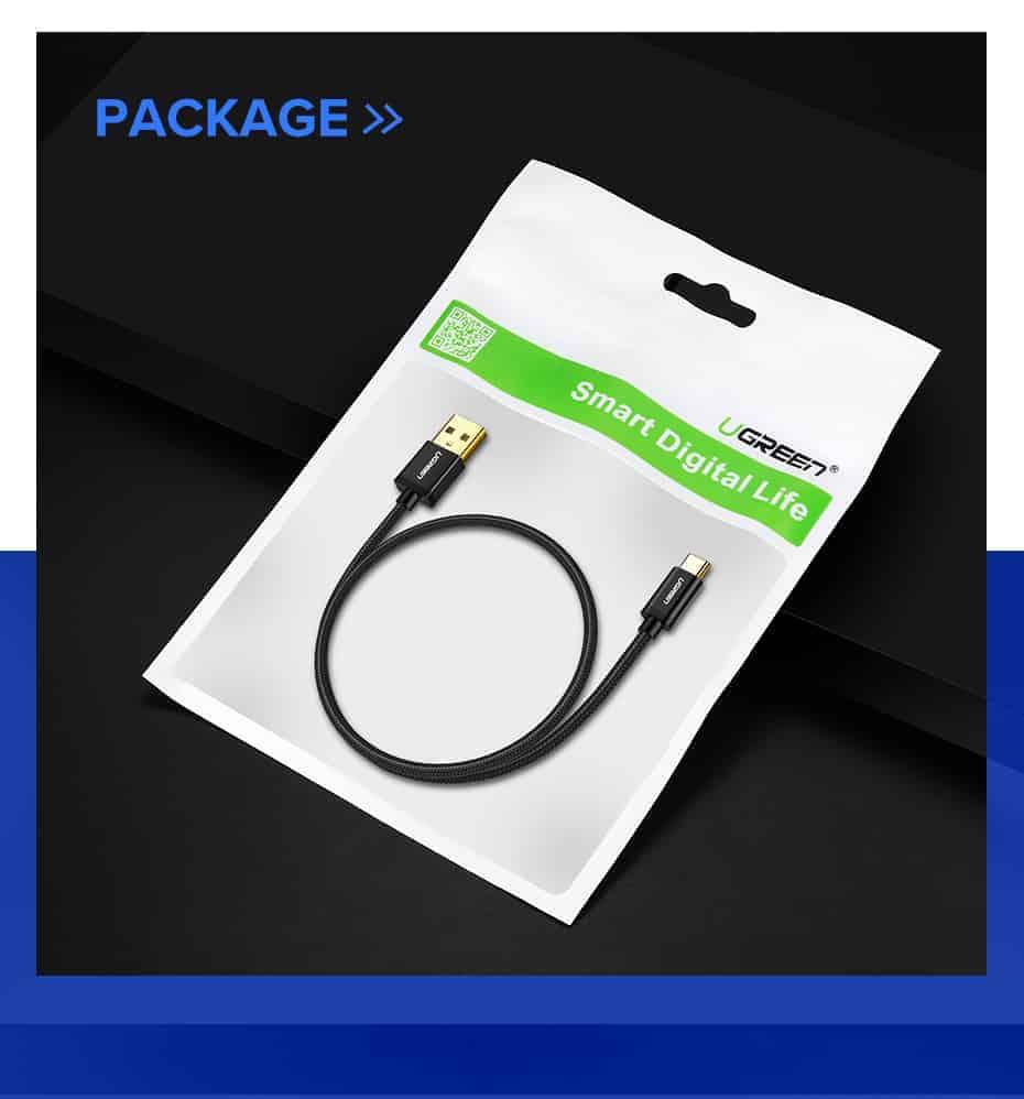 สายชาร์จ Type C Ugreen 3A Support Qualcomm Quick charger for android phone-14-package