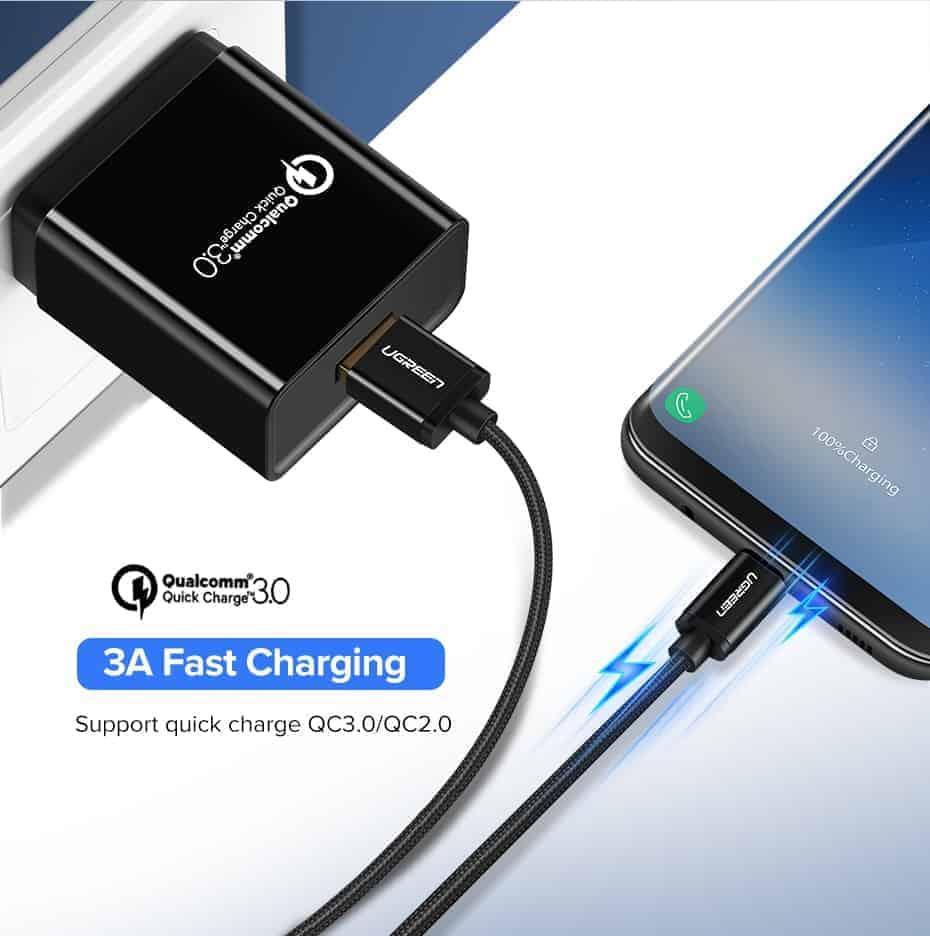 สายชาร์จ Type C Ugreen 3A Support Qualcomm Quick charger for android phone-2-support quick charge