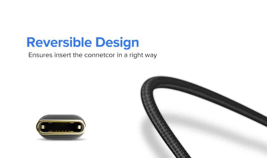 สายชาร์จ Type C Ugreen 3A Support Qualcomm Quick charger for android phone-3-reversible